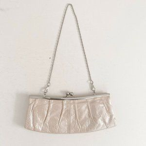 Hobo Leather Removable Chain Clutch Metallic Beige